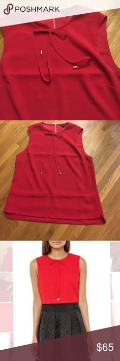 """Ted Baker Natalie Crepe Top Like New Gorgeous crepe top with gold zipper back. (Zipper in plastic covering). Classy and modern in iconic couture brand. Ted Baker size 5 - will fit a size 10 or 12. Bust 20.75"""" across. Length 25.75"""". Excellent used condition, no visible wear. Matching red lining. Very chic, luxurious look and feel. Great price for wardrobe staple! Ted Baker London Tops"""