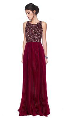f536a7a563 Vestido Longo Plissado com lantejoulas - Aluguer de vestidos Badgley  Mischka - Frente Rent Prom Dresses