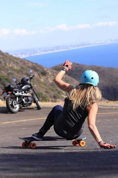 Longboarding with a spectacular backdrop.