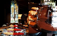 Chocolate River - so much cooler than chocolate fountain. Cylinders w/ submerged flowers & underlighting Submerged Flowers, Chocolate Fountains, Willy Wonka, Bat Mitzvah, Auction, Texas, Party Ideas, Events, Wedding Ideas