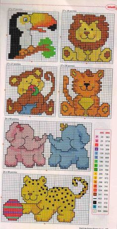 Cute and simple cross stitch animals, ideal for kids' cards or patch detail on clothing. How about a patch on a pencil case?: