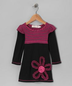Take a look at this Black & Fuchsia Stripe Flutter Dress - Toddler & Girls by Love Loves Luv on #zulily today!