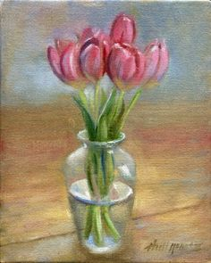 Tulips Bouquet in Glass Vase 10 8 in. Original Oil on canvas -- Hall Groat II