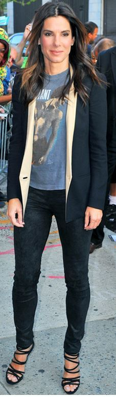 Sandra Bullock: Pants – Helmut Lang  Shoes – Casadei