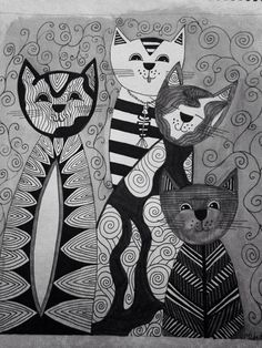 Zentangle cats with no color. Pen and ink