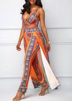 Orange Overlay Embellished Dashiki Print V Neck Jumpsuit   liligal.com - USD $41.53