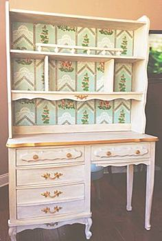 French Provincial Desk Hutch Painted In Old White With An Antiqued Finish Lightly Distressed