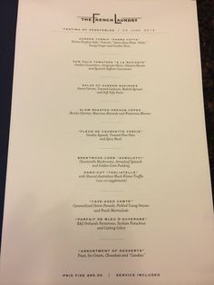The French Laundry Restaurant Menu With Details In A BradleyS