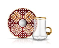 Koleksiyon Dervish Kulplu Çay Seti 6Lı Karo Bordo