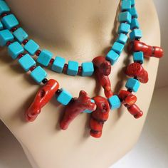 Dramatic vintage 1970s turquoise cube and dyed branch coral beaded necklace chunky two strand by trendybindi
