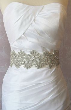 Wide Rhinestone Bridal Sash, Crystal Wedding Belt, Rhinestone Sash- MAYA