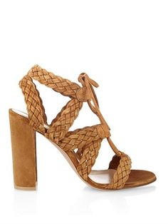 Lace-up woven suede sandals | Gianvito Rossi | MATCHESFASHION.COM