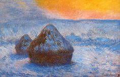 Claude Monet, Grainstacks At Sunset, Snow Effect, 1890-1891