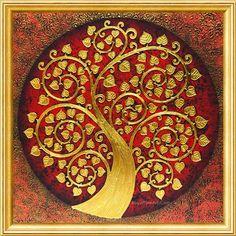 Asian Tree Painting - Famous South Asian Art l Royal Thai Art Buddha Painting, Mandala Painting, Mandala Art, Kalamkari Painting, Madhubani Painting, Paintings Famous, Indian Art Paintings, Mural Wall Art, Tree Wall Art