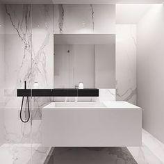 Instagram photo by interiorsme - #bathroom #designer #designerbathroom #interiors #whiteonwhite #whitemarble #whitewithblack #calacattamarble #calacatta #regram credit @pocodesigns #minimalist #interiorsme #ime #wallmountedvanity #cleanlines