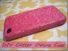 Super cute idea! So simple too! Take a phone case, buy some glitter spray and wah la! Or you can use nail polish and there are so many other ways too!