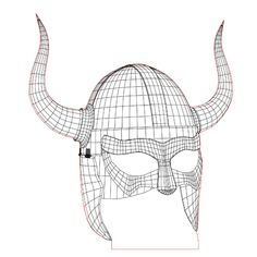 Viking helmet 3d illusion lamp plan vector file for CNC - 3bee-studio