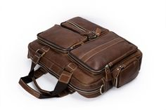 Image of Vintage Style Genuine Leather Men's Briefcase, Messenger Bag, Laptop Bag 8221