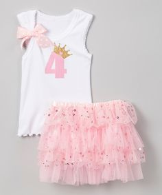 Look what I found on #zulily! So Girly & Twirly White & Pink '4' Tank & Tutu - Girls by So Girly & Twirly #zulilyfinds
