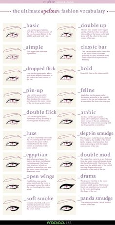 The ultimate Eyeliner fashion vocabulary More Visual Glossaries (for Her): Backp., The ultimate Eyeliner fashion vocabulary More Visual Glossaries (for Her): Backp. The ultimate Eyeliner fashion vocabulary More Visual Glossaries (f. Skin Makeup, Beauty Makeup, Eyeliner Makeup, Contour Makeup, Eyeliner Ideas, Makeup Blog, Makeup Brushes, Eyeliner Pencil, Makeup Eyes