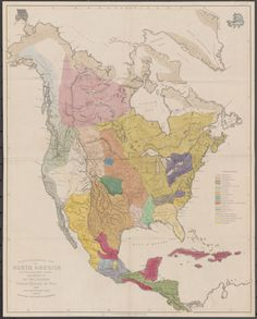Ethnographic map of North America, produced in 1843