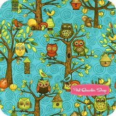 Fall Fun Teal Owl and Bird Scenic Yardage SKU# 80690-425W - Fat Quarter Shop