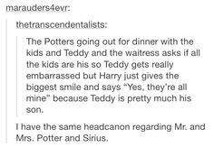 Harry and Teddy vs Mrs. Potter and Sirius