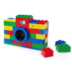This totally functional 3 megapixel digital camera is built out of red, yellow, green and blue LEGO bricks and can be built in to your existing LEGO structures.