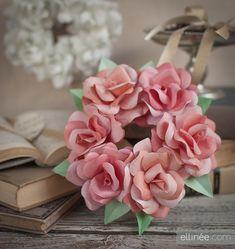 Paper Rose Wreath in Blush, Pink & Peach
