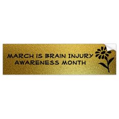 Gold and Black Brain Injury Awareness Bumper Sticker
