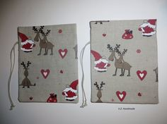 Christmas Gift Wrap Set 2 Christmas linen gift bags by ladybird113