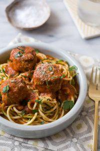 zucchininoodlesandmeatballs_7 http://www.freehealthyfood.com/recipes/turkey-meatballs-over-zucchini-noodles/