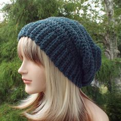 Dark Teal Crochet Hat Womens Slouchy Beanie by ColorMyWorldCrochet