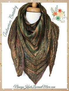 Triangle Lace Shawl Autumn Merino Wool Blend Malabrigo Rios Primavera Large Size @JazzitupwithDes  #bmecountdown