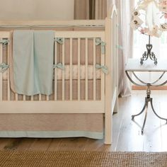 Light Blue Linen Crib Bedding | Baby Boy Linen Crib Bedding in Light Blue and Brown | Carousel Designs