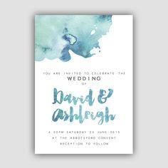 Watercolour Wedding Invitation by CreativeWonderAu on Etsy https://www.etsy.com/listing/232985072/watercolour-wedding-invitation