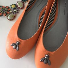 New Anthropologie Honey Bee Flats Gorgeous and insanely cute at the same time. Not sure I want to part with these, but I have another similar pair.  Pilcro's signature pair is back in bright-bold leather with quirky new charms.  Fits true to size  Leather upper, insole  Synthetic sole Anthropologie Shoes Flats & Loafers