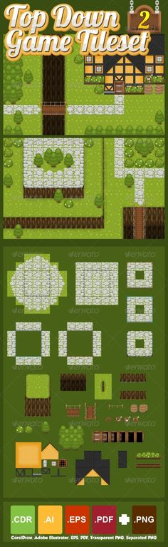 Set of tiles to create a map for top-down games.  With grass, hill, stone…