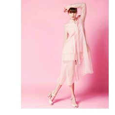 ROSE QUARTZ organdy trench.  Available at Maison Raquette