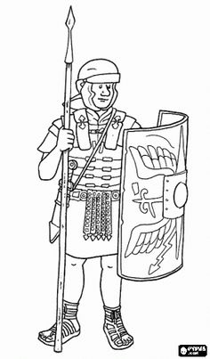 Rome Coloring Pages Printable | Roman soldier, a legionary armed with pilum (spear), sword, helmet ...