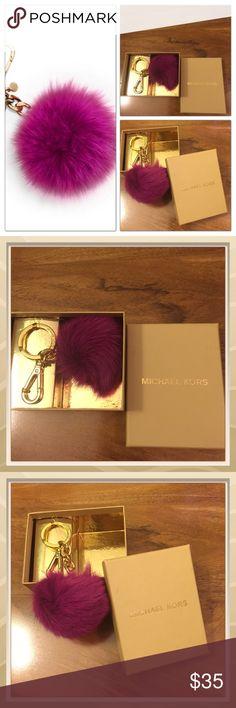 MK POM POM KEY CHAIN FUSCHIA SUPER CUTE FUR POM POM KEY CHAIN SOFT FUR ATTACH UR KEYS OR HOOK ON UR BAG  Michael Kors Accessories Key & Card Holders