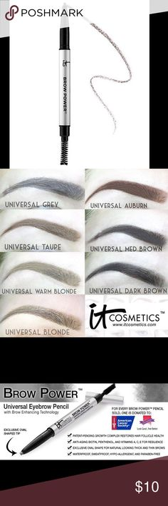 New It Cosmetic Universal Eyebrow pencil A bestselling, award-winning eyebrow pencil that creates natural-looking brows Brow Power™ features an exclusive oval tip that mimics the look of real hair, plus a built-in grooming spooley brush for polished perfection. The revolutionary, budge-proof formula adheres to skin for long-lasting results, while the universal transforming shade adjusts to all hair colors based on pressure and completely covers gray. Apply softer strokes for lighter hair…