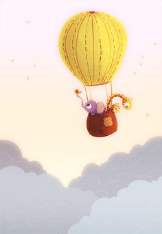 cute animals + hot air balloon