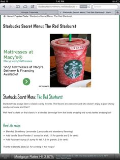 starbucks coffee secret menu - Google Search