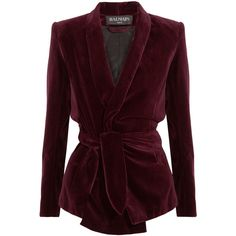 Balmain Belted velvet blazer ($1,260) ❤ liked on Polyvore featuring outerwear, jackets, blazers, coats, coats & jackets, burgundy, velvet jacket, brown velvet blazer, balmain blazer and burgundy velvet blazer
