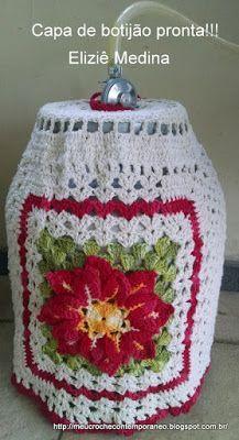 Meu Crochê Contemporâneo: Capa para botijão com a Flor Raio de Luz