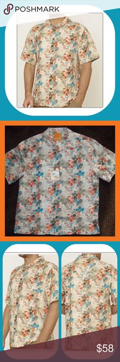 🌺Margaritaville Men's 100% Silk Hawaiian Shirt-L Men's Hawaiian Shirt size Large. The brand is Margaritaville and it's new with tags. Made of 100% silk. Button down front with collar. Abstract floral print in tan, orange, teal and brown. Chest-48 inches. Shoulder to Hem-30 inches. Underarm to Hem-17 inches. Includes 2 replacement buttons. Margaritaville Shirts Casual Button Down Shirts