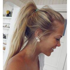messy pony tail + pearl earrings mermaid status