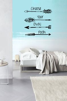 Wall Decal Vinyl Sticker Decals Art Decor Design Arrows Choose your own Path Quote Words Hippster Aztec Geometric Bedroom from CreativeWallDecals on Etsy