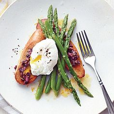 Asparagus Salad with Poached Eggs and Tapenade Toasts | MyRecipes.com